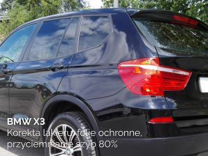 BMW X3 korekta lakieru, folie ochronne, przyciemnianie szyb 80%